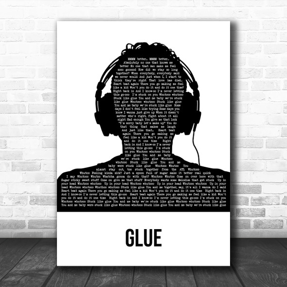 Bicep Glue Black & White Man Headphones Song Lyric Art Print