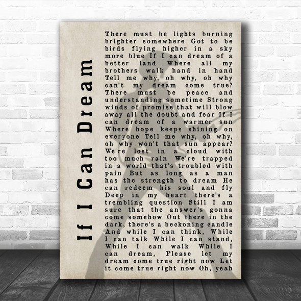 Elvis Presley If I Can Dream Pose Shadow Song Lyric Music Wall Art Print