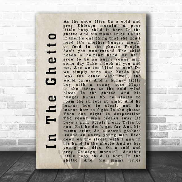 Elvis Presley In The Ghetto Face Shadow Song Lyric Music Wall Art Print