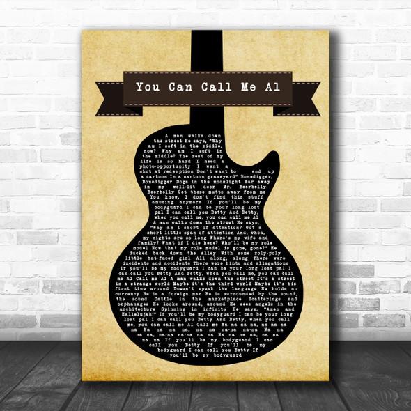 Paul Simon You Can Call Me Al Black Guitar Song Lyric Art Print