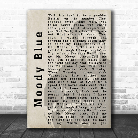 Elvis Presley Moody Blue Face Shadow Song Lyric Music Wall Art Print