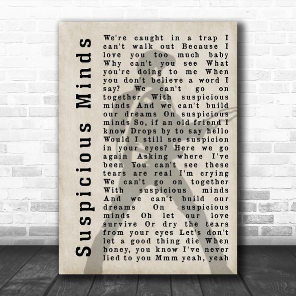 Elvis Presley Suspicious Minds Pose Shadow Song Lyric Music Wall Art Print
