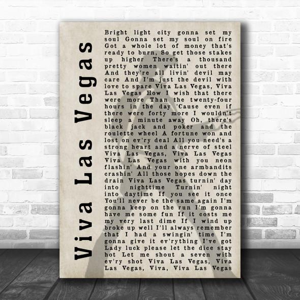 Elvis Presley Viva Las Vegas Pose Shadow Song Lyric Music Wall Art Print