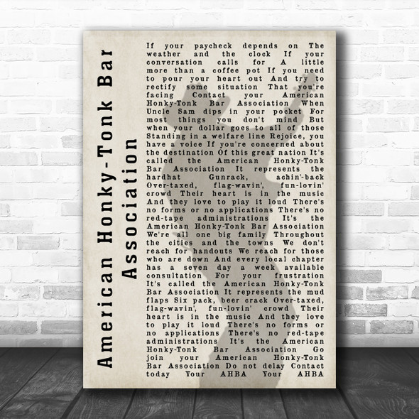 Garth Brooks American Honky-Tonk Bar Association Shadow Song Lyric Music Wall Art Print