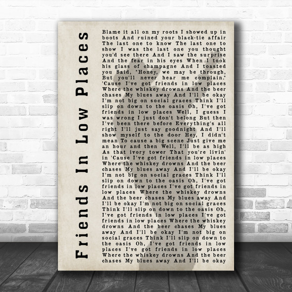 Garth Brooks Friends In Low Places Shadow Song Lyric Music Wall Art Print