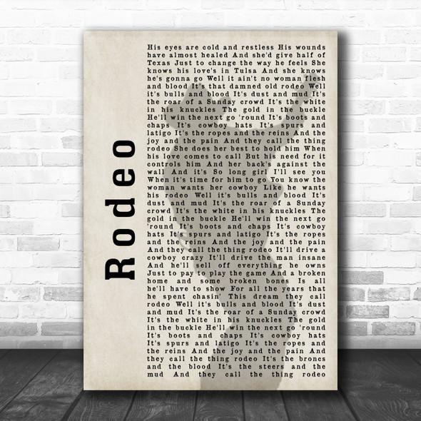 Garth Brooks Rodeo Shadow Song Lyric Music Wall Art Print
