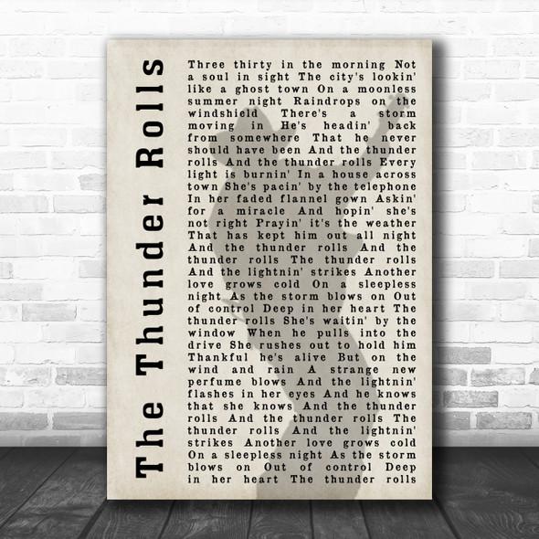 Garth Brooks The Thunder Rolls Shadow Song Lyric Music Wall Art Print