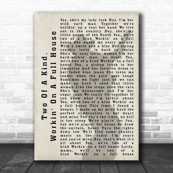 Garth Brooks Two Of A Kind, Workin' On A Full House Shadow Song Lyric Music Wall Art Print