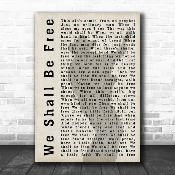 Garth Brooks We Shall Be Free Shadow Song Lyric Music Wall Art Print