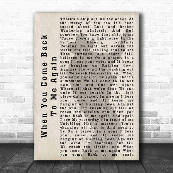 Garth Brooks When You Come Back To Me Again Shadow Song Lyric Music Wall Art Print