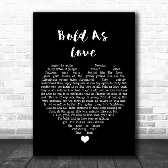 Jimi Hendrix Bold As Love Black Heart Song Lyric Art Print