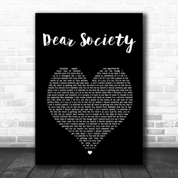 Madison Beer Dear Society Black Heart Song Lyric Art Print