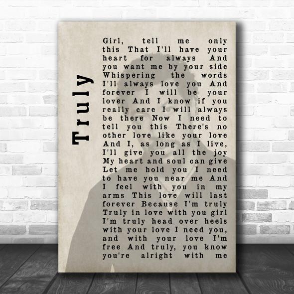 Lionel Richie Truly Shadow Song Lyric Music Wall Art Print