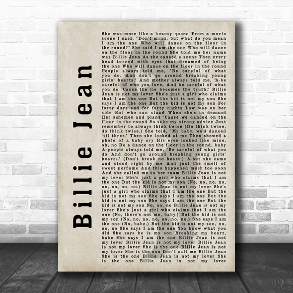 Michael Jackson Billie Jean Shadow Song Lyric Music Wall Art Print