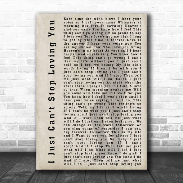 Michael Jackson I Just Can't Stop Loving You Shadow Song Lyric Music Wall Art Print