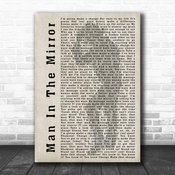 Michael Jackson Man In The Mirror Shadow Song Lyric Music Wall Art Print