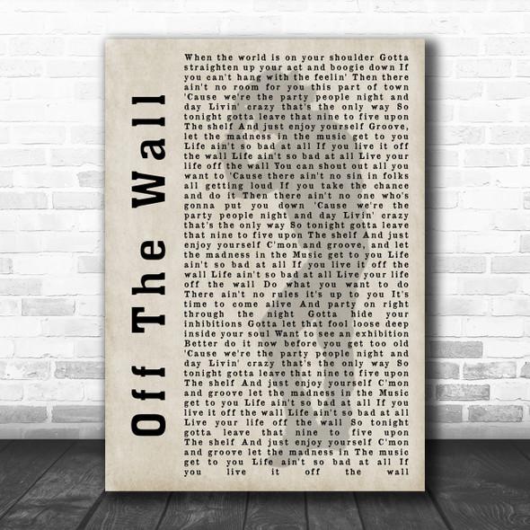 Michael Jackson Off The Wall Shadow Song Lyric Music Wall Art Print
