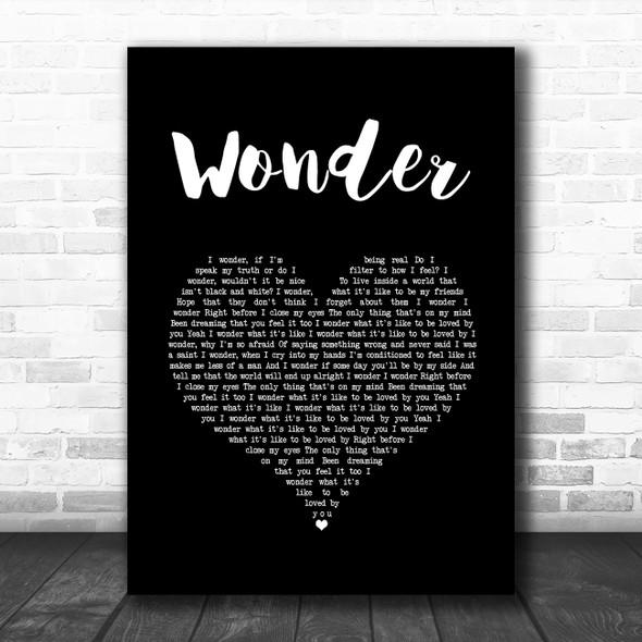 Shawn Mendes Wonder Black Heart Song Lyric Art Print