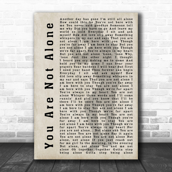 Michael Jackson You Are Not Alone Shadow Song Lyric Music Wall Art Print