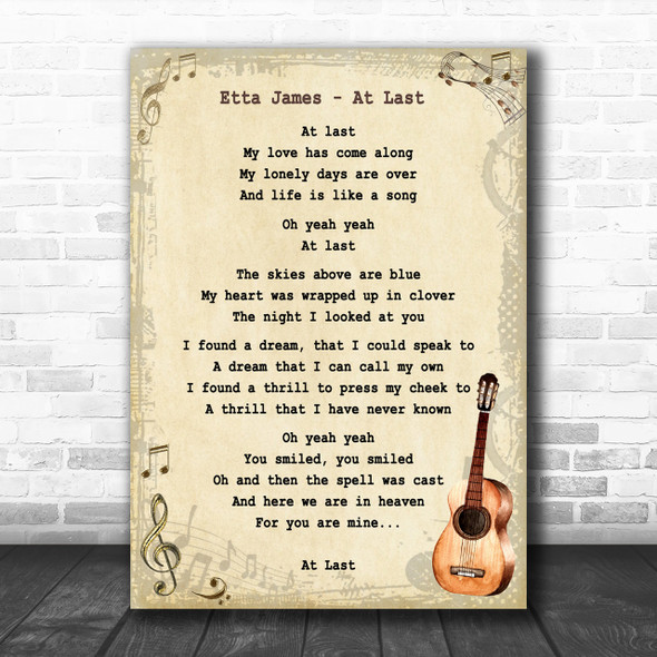 Etta James At Last Song Lyric Vintage Music Wall Art Print