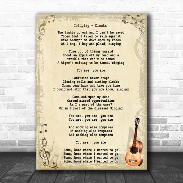 Coldplay Clocks Song Lyric Vintage Music Wall Art Print