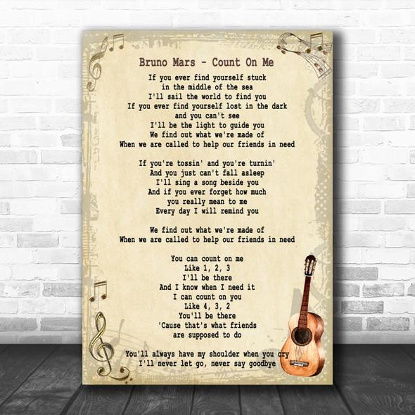 Bruno Mars Count On Me Song Lyric Vintage Music Wall Art Print