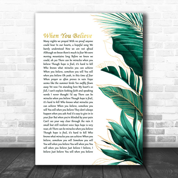 Whitney Houston & Mariah Carey When You Believe Gold Green Botanical Leaves Side Script Song Lyric Art Print