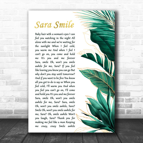 Hall & Oates Sara Smile Gold Green Botanical Leaves Side Script Song Lyric Art Print