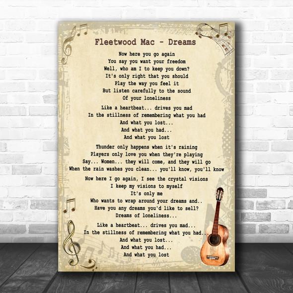 Fleetwood Mac Dreams Song Lyric Vintage Music Wall Art Print