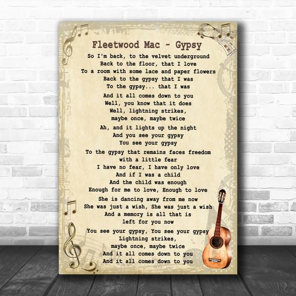Fleetwood Mac Gypsy Song Lyric Vintage Music Wall Art Print