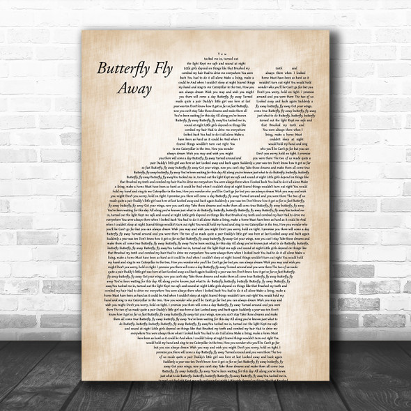 Miley Cyrus Butterfly Fly Away Father & Baby Song Lyric Art Print