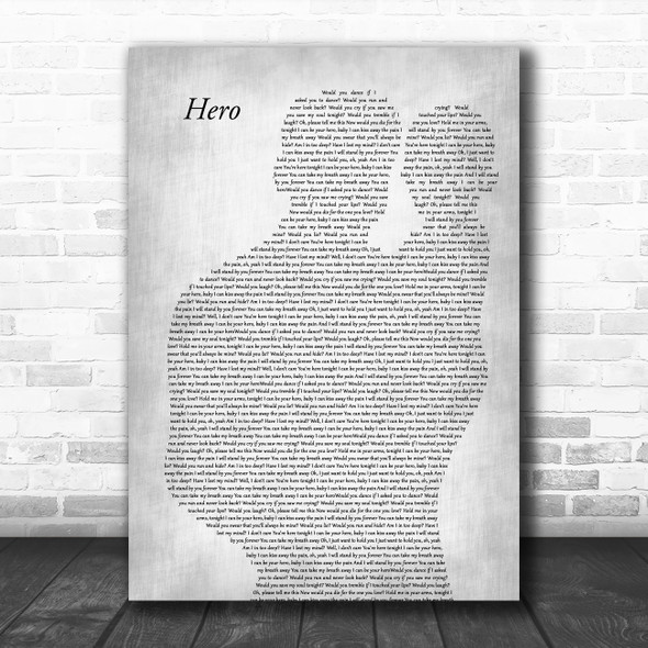 Enrique Iglesias Hero Father & Baby Grey Song Lyric Art Print