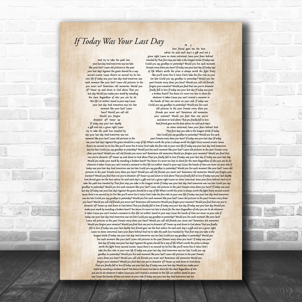 Nickleback If Today Was Your Last Day Father & Child Song Lyric Art Print