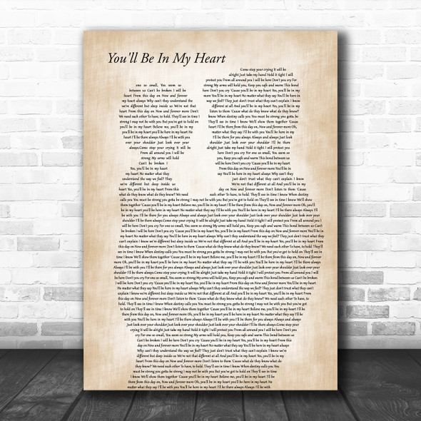 Phil Collins You'll Be In My Heart Father & Child Song Lyric Art Print