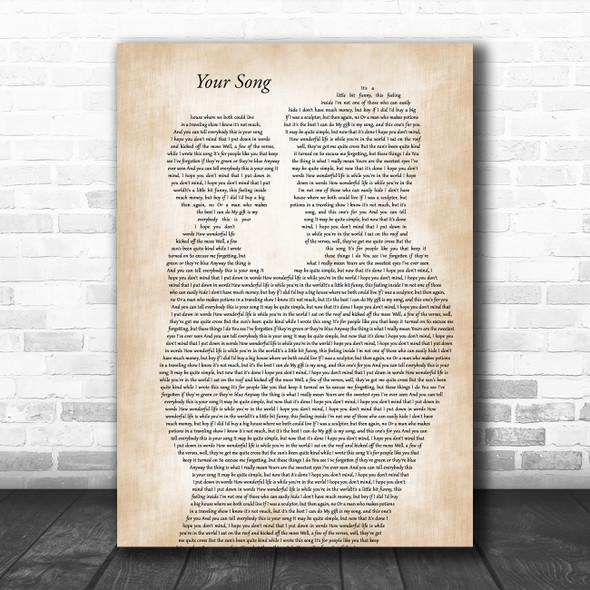 Elton John Your Song Father & Child Song Lyric Art Print