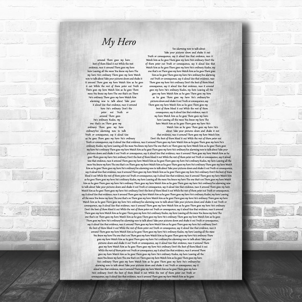 Foo Fighters My Hero Father & Child Grey Song Lyric Art Print