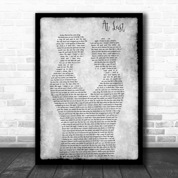 Etta James At Last Gay Couple Two Men Dancing Grey Song Lyric Art Print