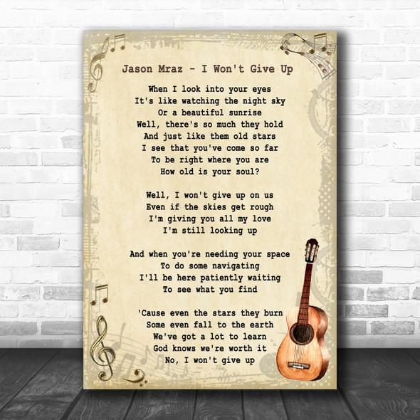 Jason Mraz I Won't Give Up Song Lyric Vintage Music Wall Art Print