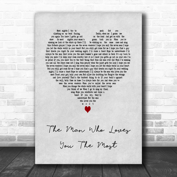 Zac Brown Band The Man Who Loves You The Most Grey Heart Song Lyric Art Print