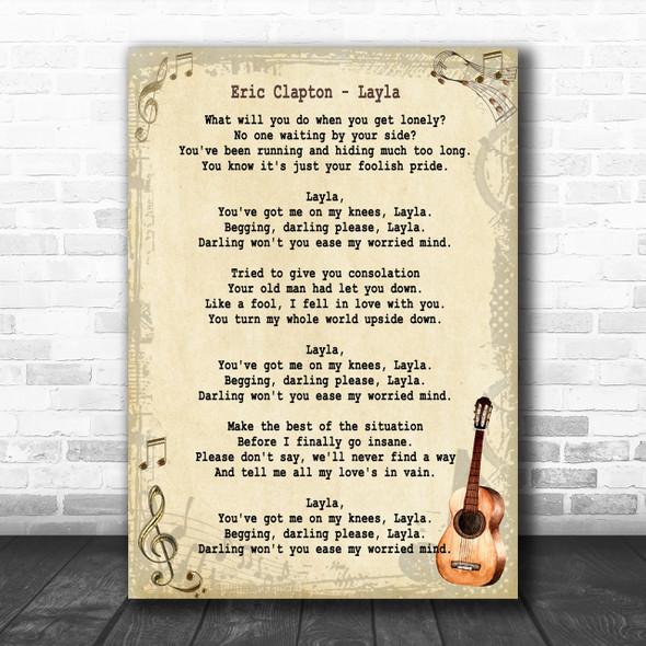 Eric Clapton Layla Song Lyric Vintage Music Wall Art Print