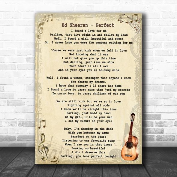 Ed Sheeran Perfect Song Lyric Vintage Music Wall Art Print