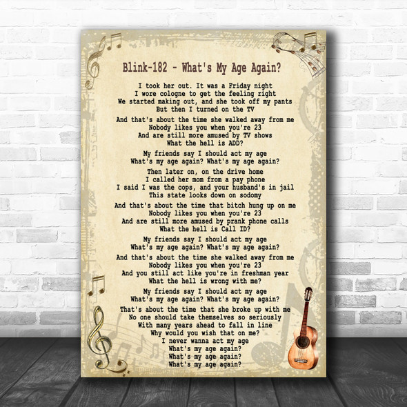 Blink-182 What's My Age Again Song Lyric Music Wall Art Print