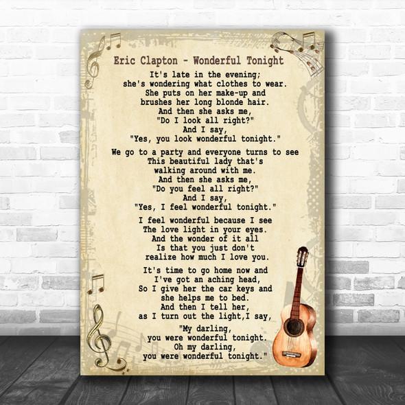 Eric Clapton Wonderful Tonight Song Lyric Vintage Music Wall Art Print