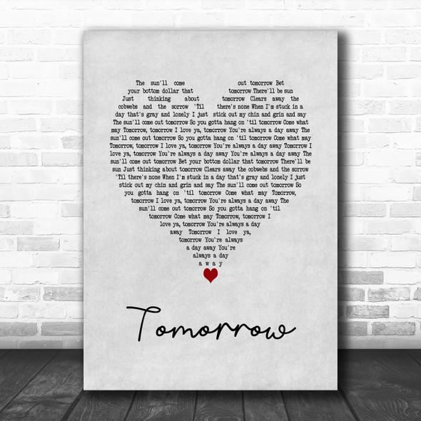 Annie The Musical Tomorrow Grey Heart Song Lyric Art Print