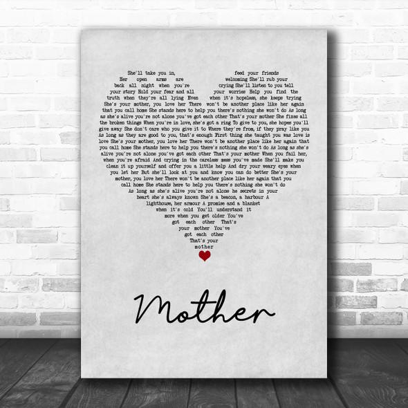 Sugarland Mother Grey Heart Song Lyric Art Print