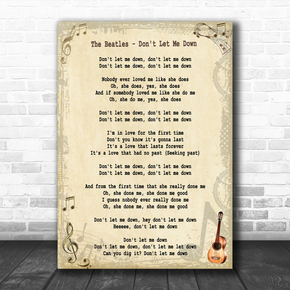The Beatles Don't Let Me Down Song Lyric Music Wall Art Print