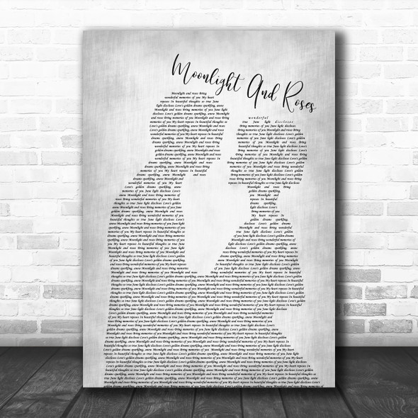 Jim Reeves Moonlight And Roses Man Lady Bride Groom Wedding Grey Song Lyric Art Print