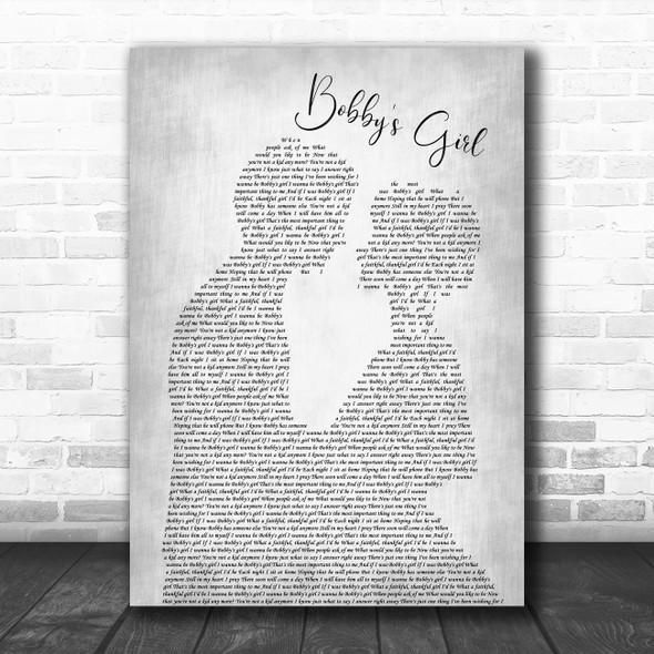 Marcie Blaine Bobby's Girl Man Lady Bride Groom Wedding Grey Song Lyric Art Print