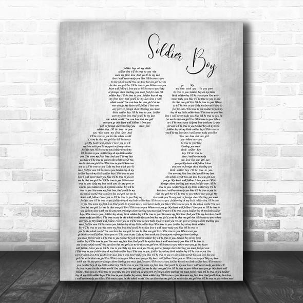 The Shirelles Soldier Boy Man Lady Bride Groom Wedding Grey Song Lyric Art Print