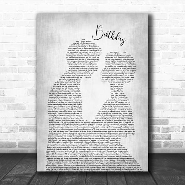 Katy Perry Birthday Man Lady Bride Groom Wedding Grey Song Lyric Art Print
